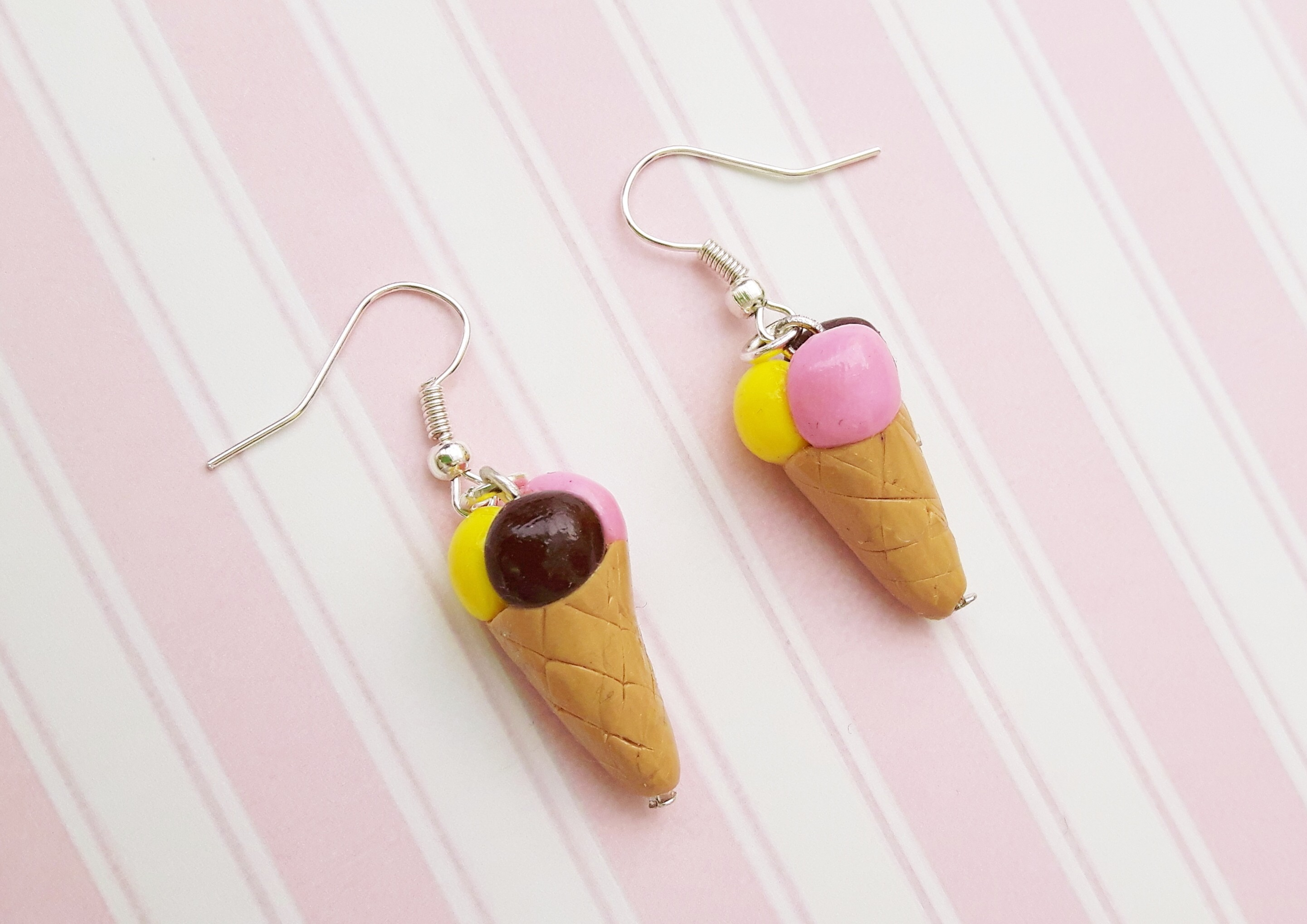 Handmade, cute, sweet, candy, pick 'n' mix, novelty, kitsch, kawaii, jewellery, accessories, gifts, fashion, made from, Fimo, polymer clay, silver, plated, nickel free, in uk, neopolitain, ice cream, cone, earrings,