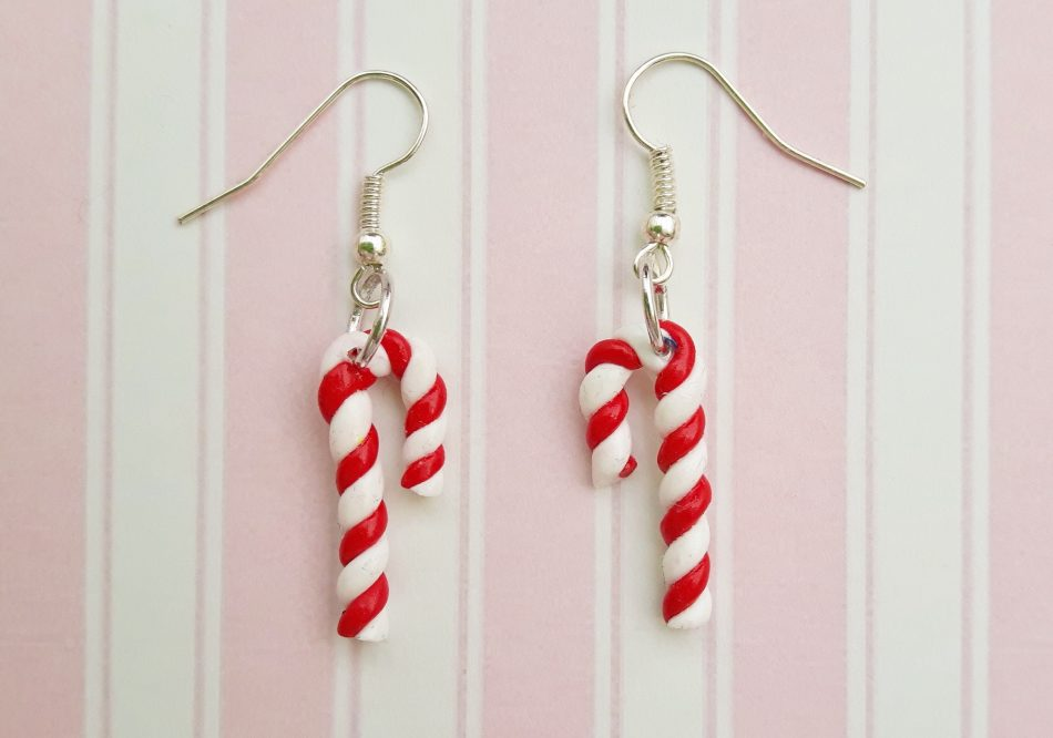 Handmade, cute, sweet, candy, pick 'n' mix, novelty, kitsch, kawaii, jewellery, accessories, gifts, fashion, made from, Fimo, polymer clay, silver, plated, nickel free, in uk, candy, cane, striped, earrings, Christmas,