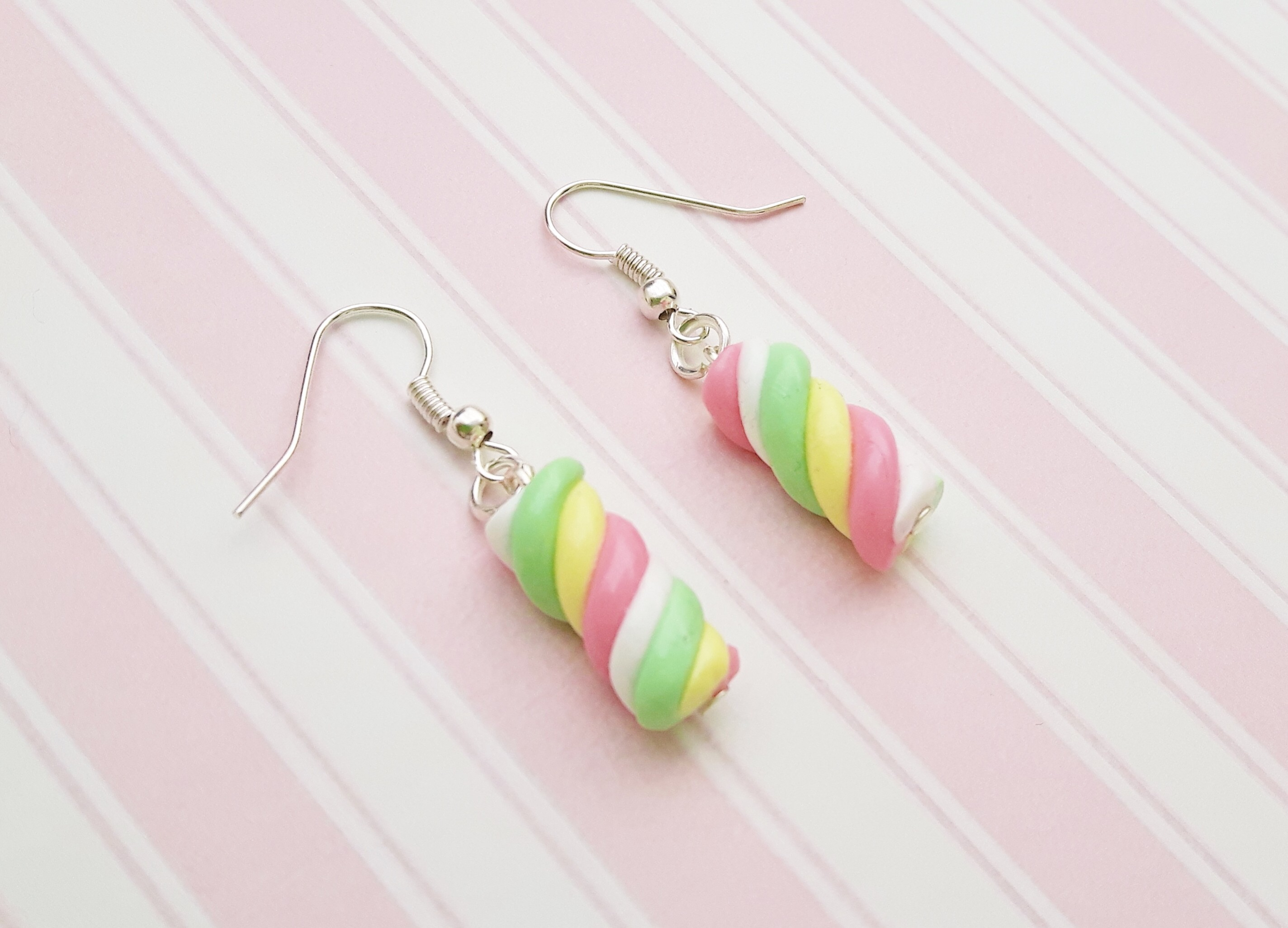Handmade, cute, sweet, candy, pick 'n' mix, novelty, kitsch, kawaii, jewellery, accessories, gifts, fashion, made from, Fimo, polymer clay, silver, plated, nickel free, in uk, marshmallow, flump, earrings,