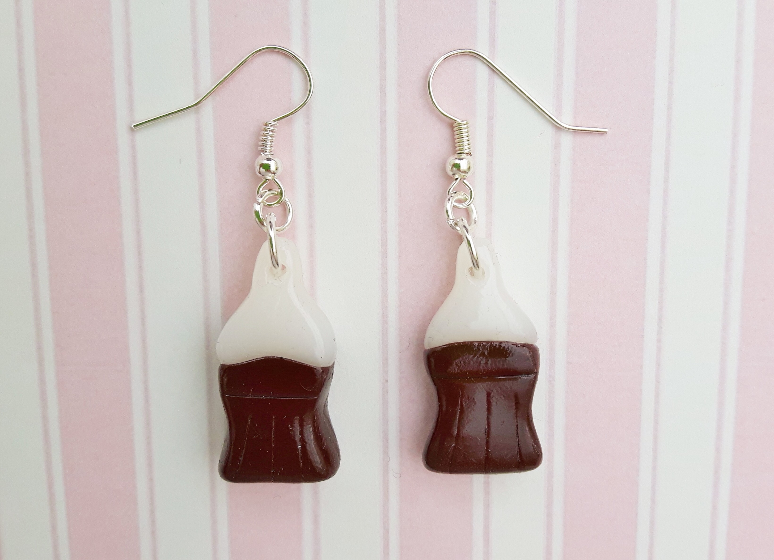 Handmade, cute, sweet, candy, pick 'n' mix, novelty, kitsch, kawaii, jewellery, accessories, gifts, fashion, made from, Fimo, polymer clay, silver, plated, nickel free, in uk, Coca, cola, bottle, earrings,