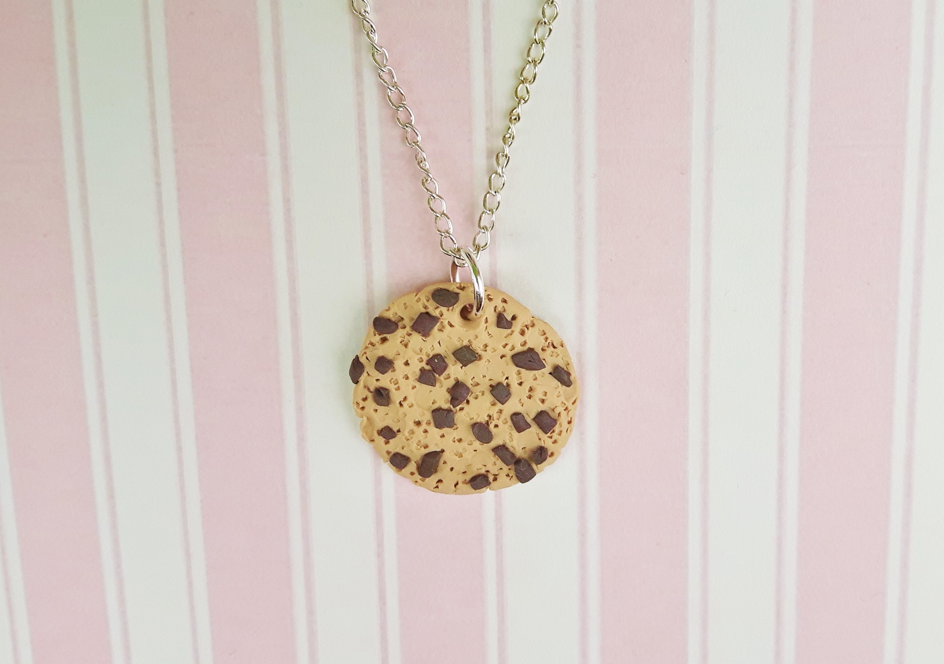 Handmade, cute, sweet, candy, pick 'n' mix, novelty, kitsch, kawaii, jewellery, accessories, gifts, fashion, made from, Fimo, polymer clay, silver, plated, nickel free, in uk, chocolate, chip, cookie, necklace,