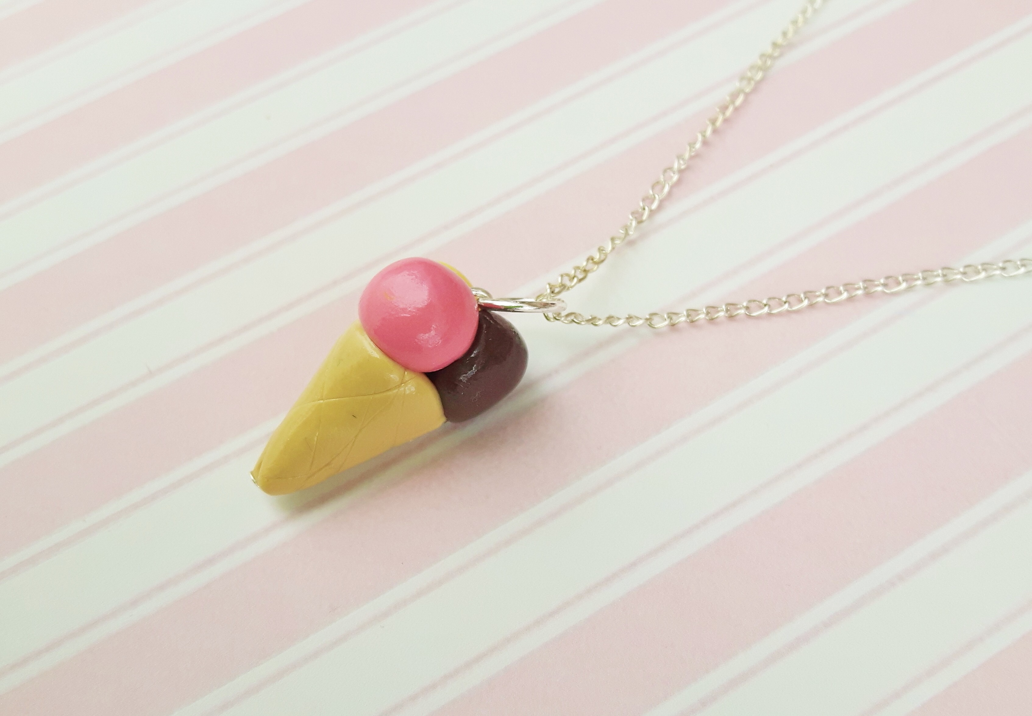 Handmade, cute, sweet, candy, pick 'n' mix, novelty, kitsch, kawaii, jewellery, accessories, gifts, fashion, made from, Fimo, polymer clay, silver, plated, nickel free, in uk, Neapolitan, ice cream, cone, necklace,