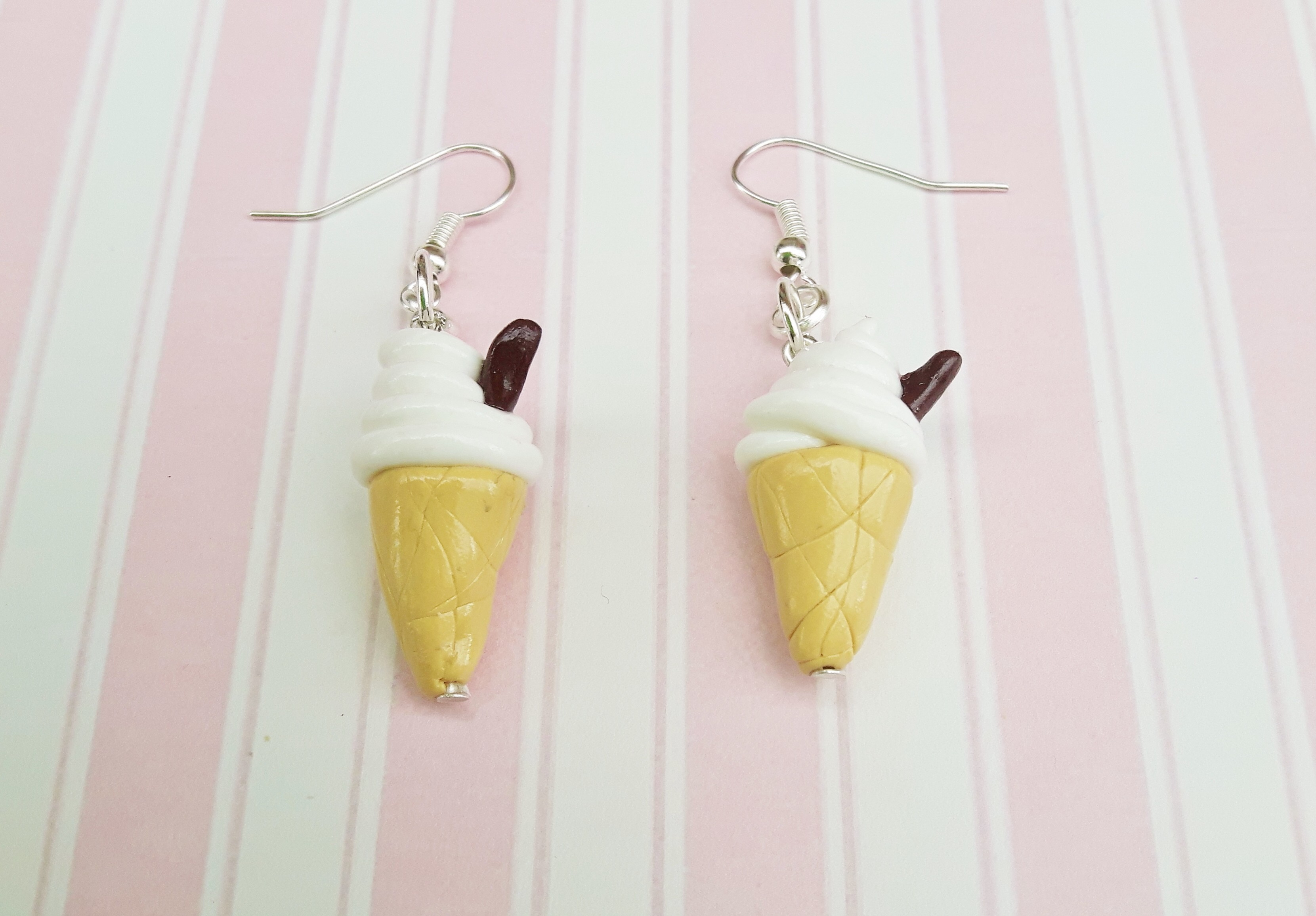 Handmade, cute, sweet, candy, pick 'n' mix, novelty, kitsch, kawaii, jewellery, accessories, gifts, fashion, made from, Fimo, polymer clay, silver, plated, nickel free, in uk, ice cream, cone, 99, earrings,