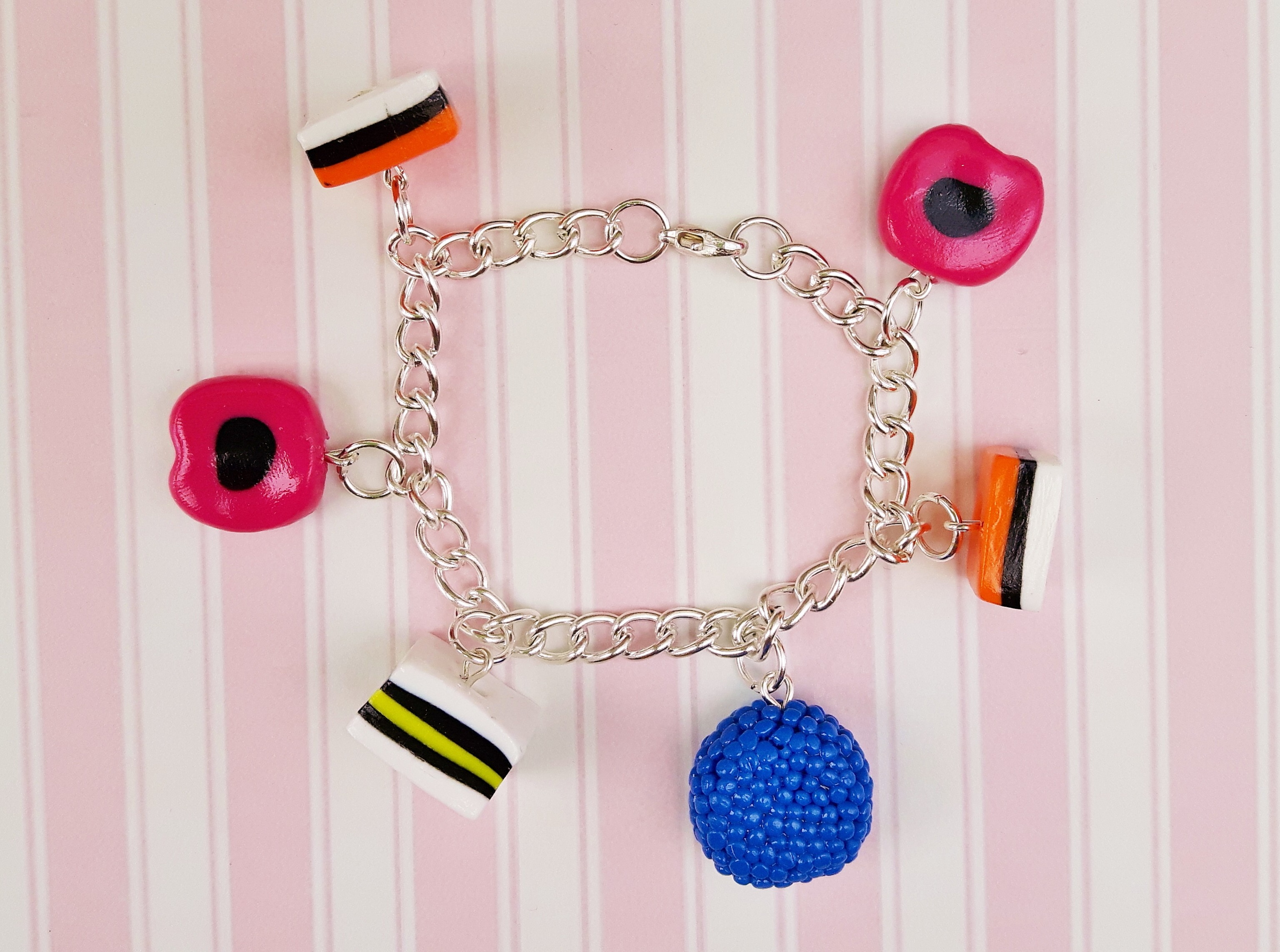 Handmade, cute, sweet, candy, pick 'n' mix, novelty, kitsch, kawaii, jewellery, accessories, gifts, fashion, made from, Fimo, polymer clay, silver, plated, nickel free, in uk, Liqorice, allsorts, charm, bracelet,