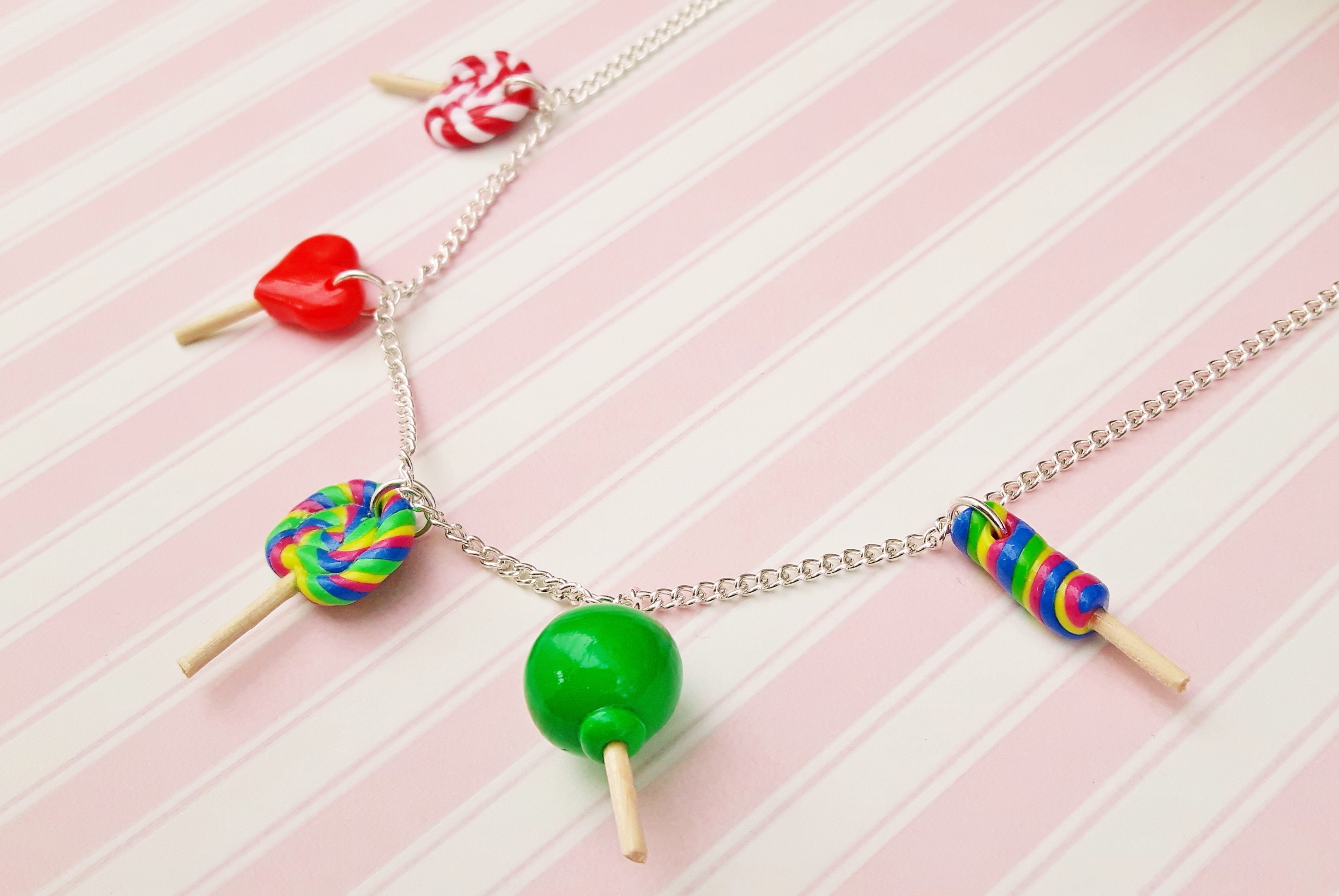 Handmade, cute, sweet, candy, pick 'n' mix, novelty, kitsch, kawaii, jewellery, accessories, gifts, fashion, made from, Fimo, polymer clay, silver, plated, nickel free, in uk, lollipop, charm, necklace,