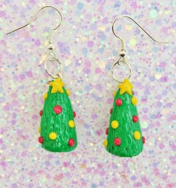 Handmade, Fimo, clay, polymerclay, jewellery, jewelry, novelty, Christmas, festive, cute, craft, gift, present, for her, decorated, Christmas tree, statement, earrings,