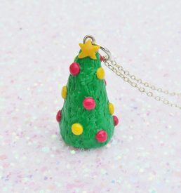Handmade, Fimo, clay, polymerclay, jewellery, jewelry, novelty, Christmas, festive, cute, craft, gift, present, for her, decorated, Christmas tree, statement, necklace,