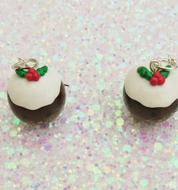 Handmade, Fimo, clay, polymerclay, jewellery, jewelry, novelty, Christmas, festive, cute, craft, gift, present, for her, Christmas pudding, pudding, statement, earrings,