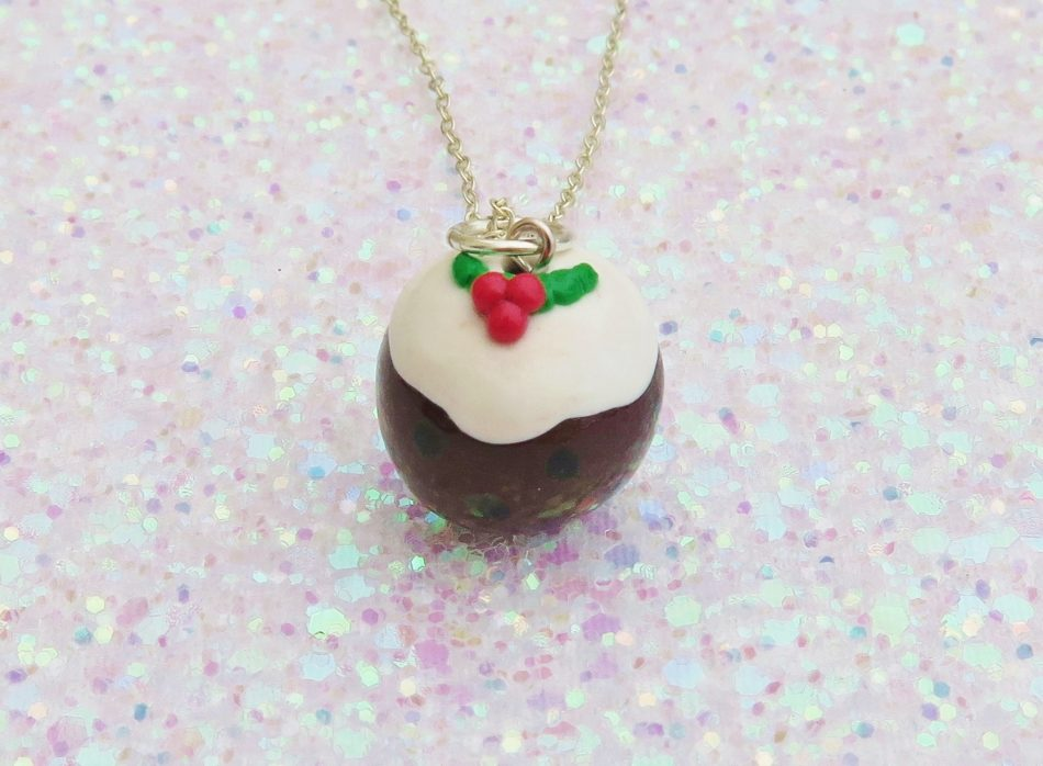 Handmade, Fimo, clay, polymerclay, jewellery, jewelry, novelty, Christmas, festive, cute, craft, gift, present, for her, Christmas pudding, pudding, statement, necklace,