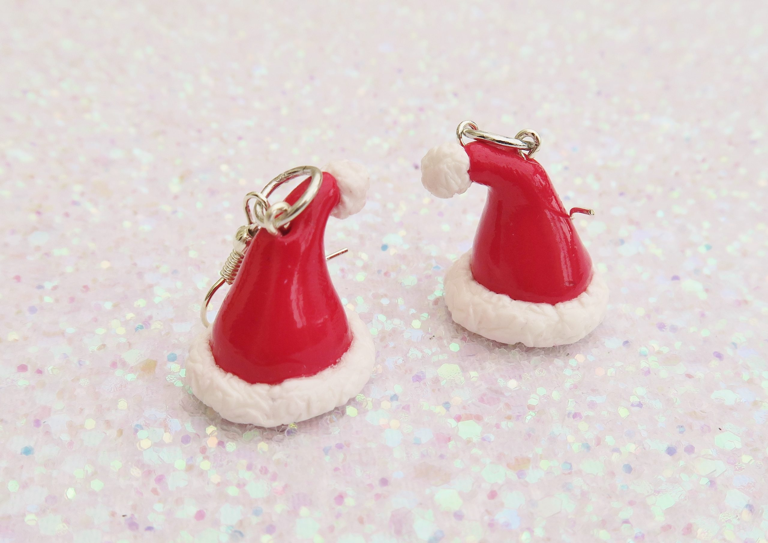 Handmade, Fimo, clay, polymerclay, jewellery, jewelry, novelty, Christmas, festive, cute, craft, gift, present, for her, red, Santa, Father Christmas, hat statement, earrings,