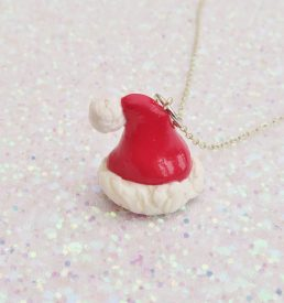 Handmade, Fimo, clay, polymerclay, jewellery, jewelry, novelty, Christmas, festive, cute, craft, gift, present, for her, red, Santa, Father Christmas, hat statement, necklace,