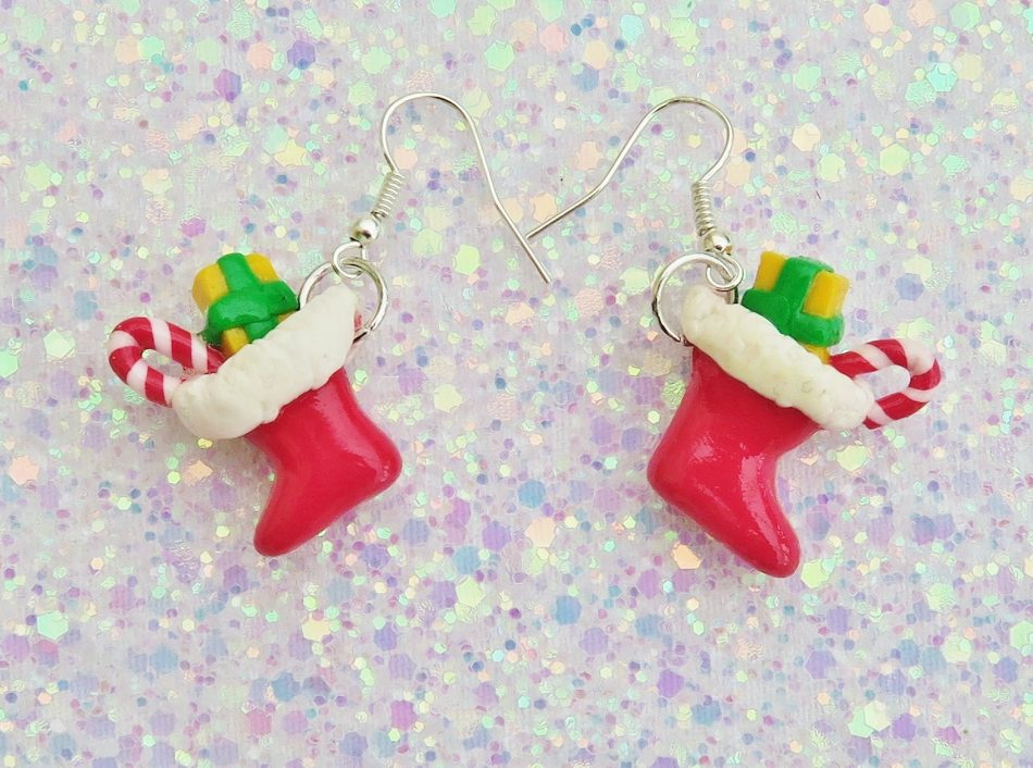Handmade, Fimo, clay, polymerclay, jewellery, jewelry, novelty, Christmas, festive, cute, craft, gift, present, for her, red, Santa, stocking, statement, earrings,