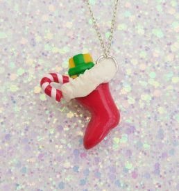 Handmade, Fimo, clay, polymerclay, jewellery, jewelry, novelty, Christmas, festive, cute, craft, gift, present, for her, red, Santa, stocking, statement, necklace,