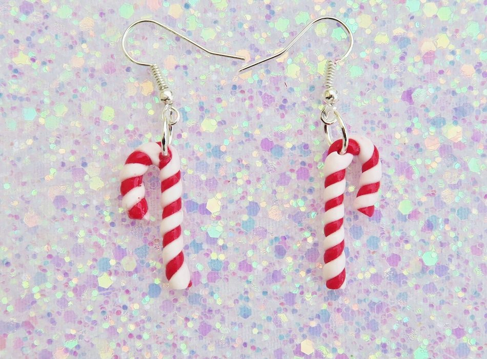 Handmade, Fimo, clay, polymerclay, jewellery, jewelry, novelty, Christmas, festive, cute, craft, gift, present, for her, candy cane, sweet, candy, statement, earrings,
