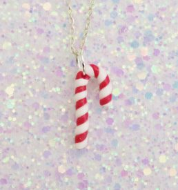 Handmade, Fimo, clay, polymerclay, jewellery, jewelry, novelty, Christmas, festive, cute, craft, gift, present, for her, candy cane, sweet, candy, statement, necklace,