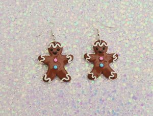 Handmade, Fimo, clay, polymerclay, jewellery, jewelry, novelty, Christmas, festive, cute, craft, gift, present, for her, sweet, biscuit, ginger bread, man, statement, earrings,