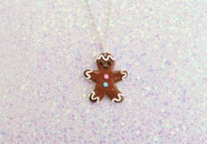 Handmade, Fimo, clay, polymerclay, jewellery, jewelry, novelty, Christmas, festive, cute, craft, gift, present, for her, sweet, biscuit, ginger bread, man, statement, necklace,