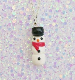 Handmade, Fimo, clay, polymerclay, jewellery, jewelry, novelty, Christmas, festive, cute, craft, gift, present, for her, scarf, snowman, statement, necklace,