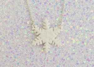 Handmade, Fimo, clay, polymerclay, jewellery, jewelry, novelty, Christmas, festive, cute, craft, gift, present, for her, large, white, glitter, glittery, snowflake, snow, statement, necklace,