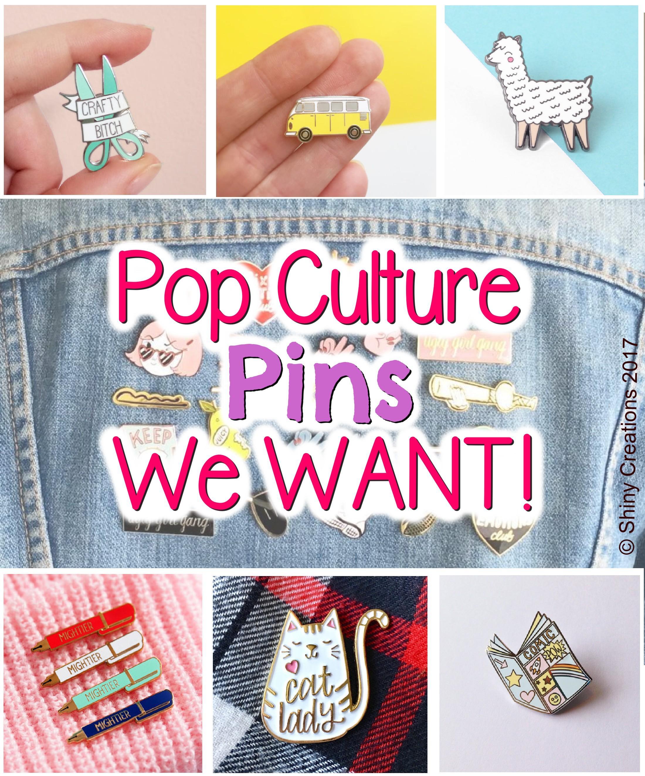 Enamel, pins, colourful, cute, quirky, art, craft, Etsy, funny, fashion, style, accessories, badges, pop culture, wish list, shop, shopping, llama, VW van, pen, cat lady, craft, artist, scissors, comic book, terrarium, cacti, cats, yin & yang,