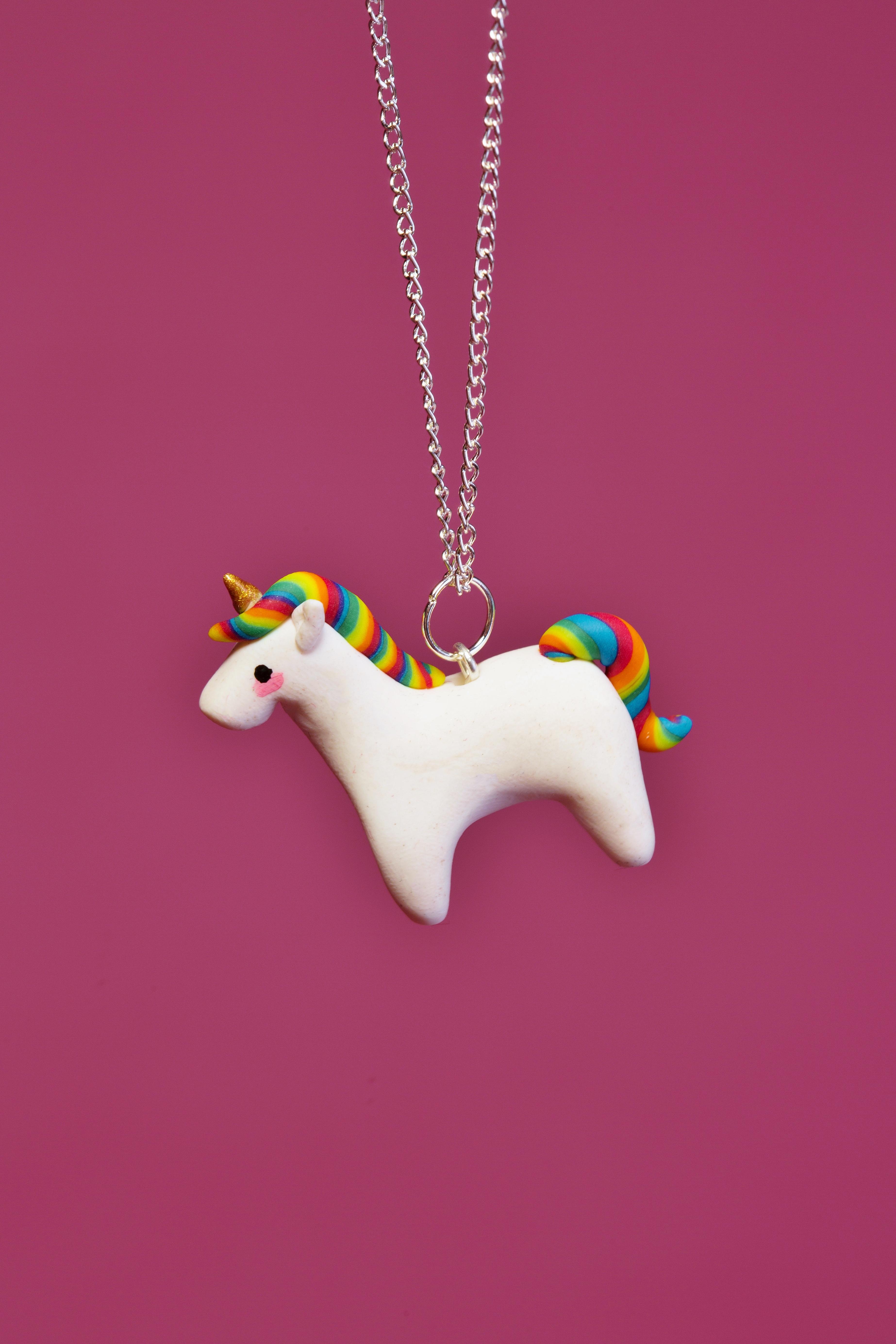 unicorn, unicorns, magical, magic, mythical, myth, mythic, glitter, shiny, cute, kawaii, chibi, pastel, gold, Pegasus, Blitz, Dash, Stardust, Twinkle, Sunshine, Moonlight, Fimo, polymer clay, handmade, kitsch, novelty, quirky, jewellery, jewelry, accessories, fashion, style, necklace, charm,